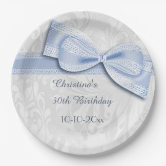 30th Birthday Blue Damask and Faux Bow Paper Plate