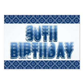 30th Birthday Blue Diamonds Squares G300 5x7 Paper Invitation Card