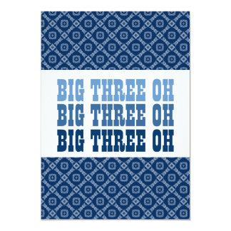 30th Birthday Blue Diamonds Squares Ver 51k Z151k 5x7 Paper Invitation Card