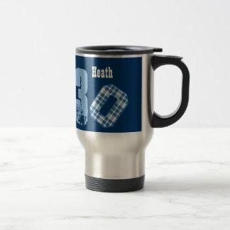 30th Birthday BLUE PLAID Big Numbers V049H 15 Oz Stainless Steel Travel Mug