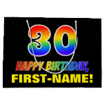 [ Thumbnail: 30th Birthday: Bold, Fun, Simple, Rainbow 30 Gift Bag ]