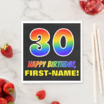 [ Thumbnail: 30th Birthday: Bold, Fun, Simple, Rainbow 30 Napkins ]