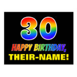 [ Thumbnail: 30th Birthday: Bold, Fun, Simple, Rainbow 30 Postcard ]