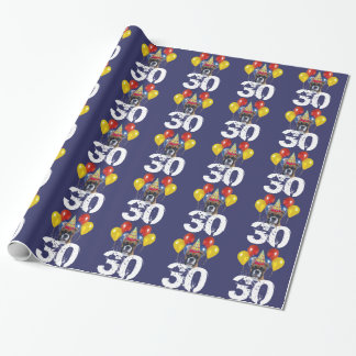 30th Birthday Boxer dog blue gift wrapping paper