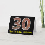 "[ Thumbnail: 30th Birthday - Brick Wall Pattern ""30"" W/ Name Card ]"
