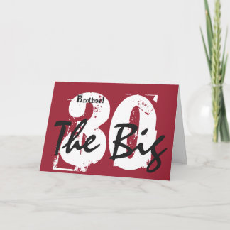 30th Birthday, brother, black, white text on red. Card
