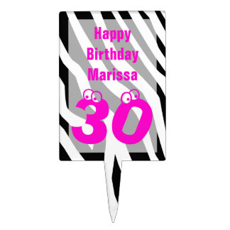 30th Birthday Cake Topper Zebra Print with 30