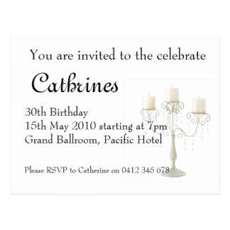30th Birthday candelabre invitation Post Card