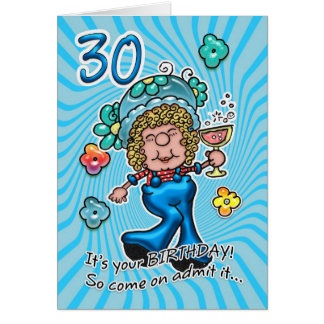 30th Birthday Card - Fun Lady With Glass Of Wine