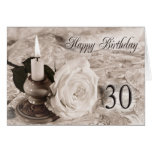 30th Birthday card with an antique rose