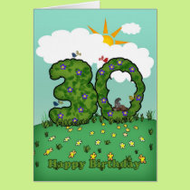 30th birthday card with flowers and topiary
