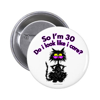 30th Birthday Cat Gifts Button