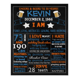 30th Birthday chalkboard sign for man men 40th 50