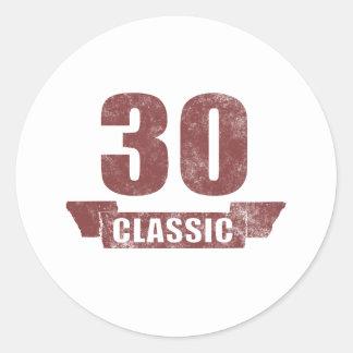30th Birthday Classic Grunge Round Sticker