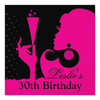 30th Birthday Cocktail Party pink Card