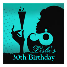 30th Birthday Cocktail Party teal Custom Announcements