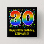 [ Thumbnail: 30th Birthday: Colorful Music Symbols, Rainbow 30 Button ]
