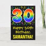 [ Thumbnail: 30th Birthday: Colorful Music Symbols + Rainbow 30 Card ]