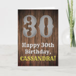 [ Thumbnail: 30th Birthday: Country Western Inspired Look, Name Card ]