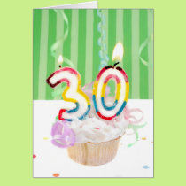 30th birthday cupcake with candles card