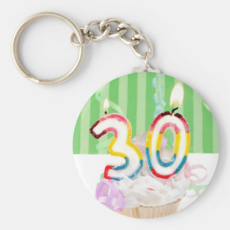 30th birthday cupcake with candles keychain