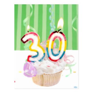 30th birthday cupcake with candles postcard