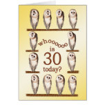 30th birthday, Curious owls card. Greeting Card