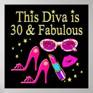 30TH BIRTHDAY DAZZLING DIVA DESIGN POSTER