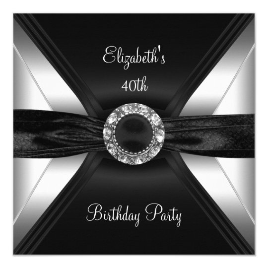 30th Birthday Diamond Image Black White Silver Card