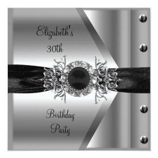 30th Birthday Diamond Jewel Black White Silver Card