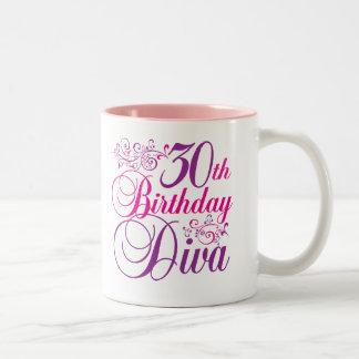30th Birthday Diva Two-Tone Coffee Mug