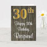 [ Thumbnail: 30th Birthday: Elegant Faux Gold Look #, Faux Wood Card ]
