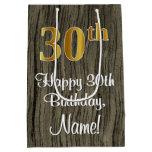 [ Thumbnail: 30th Birthday: Elegant Faux Gold Look #, Faux Wood Gift Bag ]