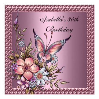 30th Birthday Elegant Floral Butterfly Pink Invite
