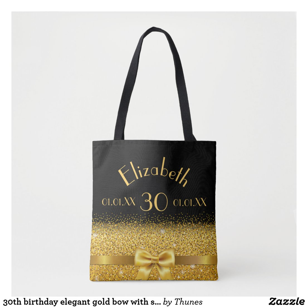 30th birthday elegant gold bow with sparkle black