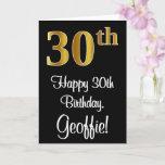 [ Thumbnail: 30th Birthday ~ Elegant Luxurious Faux Gold Look # Card ]