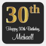 [ Thumbnail: 30th Birthday – Elegant Luxurious Faux Gold Look # Sticker ]