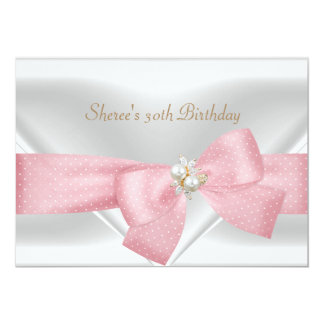 30th Birthday Elegant White Pearl Jewel Pink Bow Card