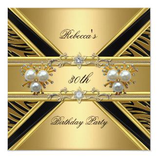 30th Birthday Elegant Zebra Gold Pearl Jewels Card
