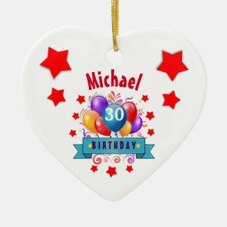 30th Birthday Festive Colorful Balloons C01BZ Ceramic Ornament