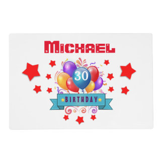 30th Birthday Festive Colorful Balloons C01BZ Placemat