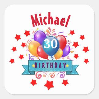 30th Birthday Festive Colorful Balloons C01BZ Square Sticker