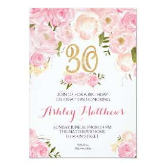 30th birthday Floral Invitation, Card