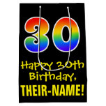 "[ Thumbnail: 30th Birthday: Fun, Bold, Colorful, Rainbow ""30"" Gift Bag ]"