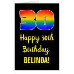 [ Thumbnail: 30th Birthday: Fun, Colorful, Happy, Rainbow # 30 Card ]