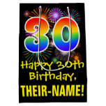 [ Thumbnail: 30th Birthday: Fun Fireworks Pattern + Rainbow 30 Gift Bag ]