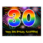 [ Thumbnail: 30th Birthday – Fun Fireworks Pattern + Rainbow 30 Postcard ]