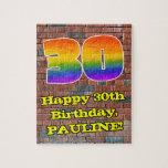 [ Thumbnail: 30th Birthday: Fun Graffiti-Inspired Rainbow 30 Jigsaw Puzzle ]