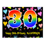 [ Thumbnail: 30th Birthday: Fun Hearts Pattern, Rainbow 30 Postcard ]