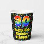 [ Thumbnail: 30th Birthday: Fun Music Notes Pattern, Rainbow 30 ]